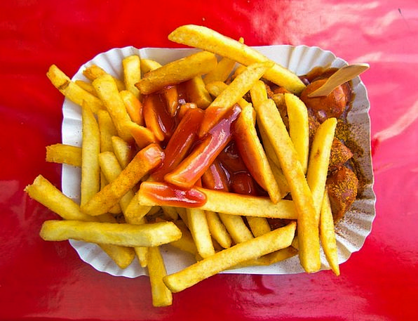 Currywurst Drink Food French French Fries Ketchup