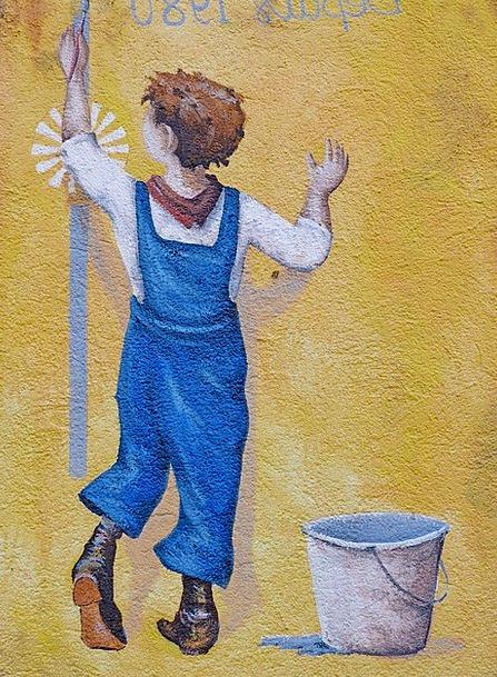 Mural Fresco Boy Lad Urban Setting