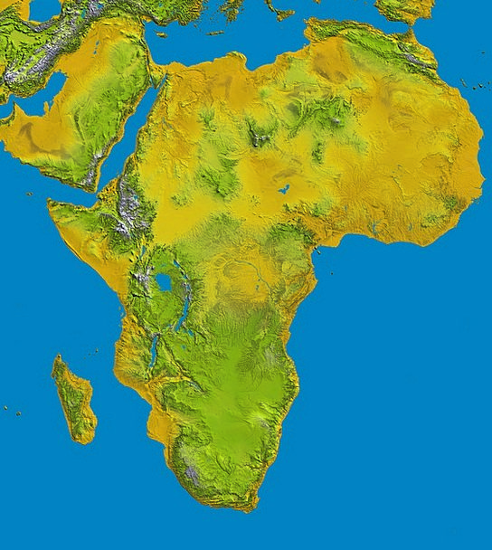 Africa Chart Relief Respite Map Topography Land Te