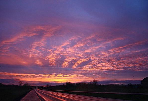 Sunset Sundown Vacation Blue Travel Purple Elabora