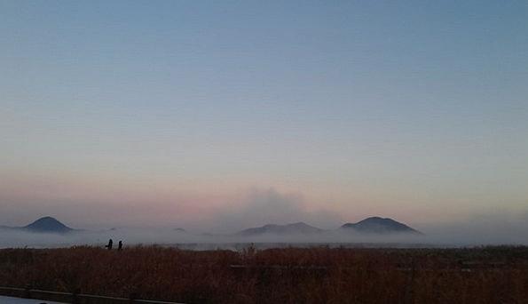Suncheon Bay Beginning Fog Mist Dawn