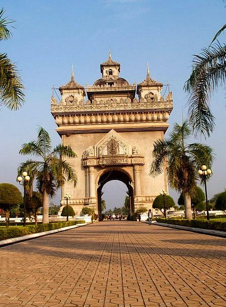 Gate Entrance Buildings Architecture Vientiane Wat