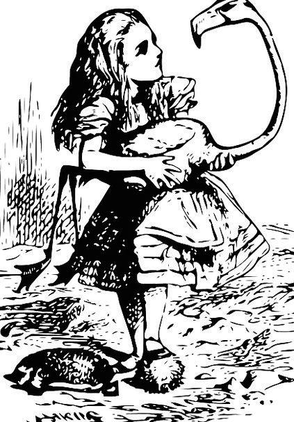 Alice In Wonderland Girl Lassie Flamingo Fable Fan