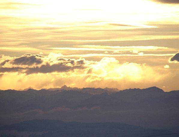 Alpine Mountainous Sunrise Dawn Distant View Winte