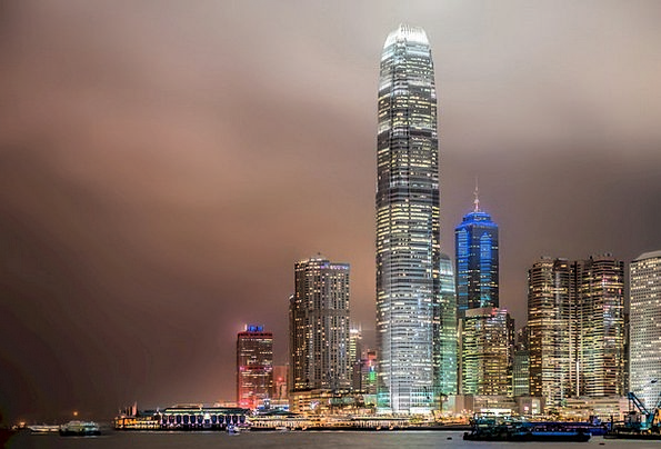 Hong Kong Buildings Towers Architecture Night Nigh