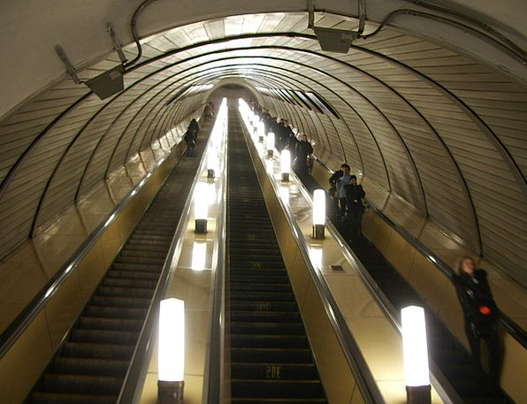 Moscow Escalator Staircase Russia Urban People Pub