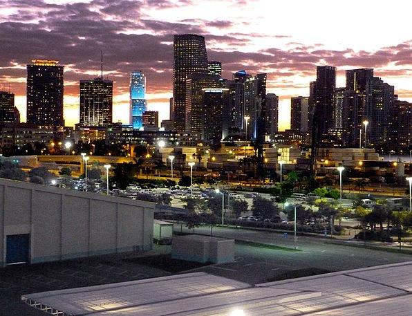 Miami Buildings Architecture Skyline Horizon Night