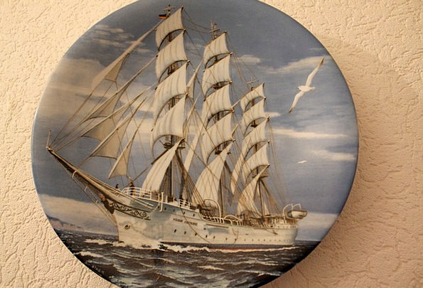 Collection Plate Vessel Porcelain China Ship Colle