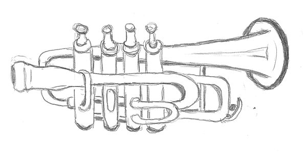 Drawing broadcast sketch draft trumpet paint dye i