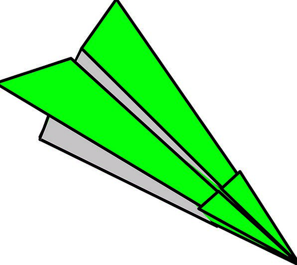 Paper Plane Lime Airplane Aircraft Green Origami F