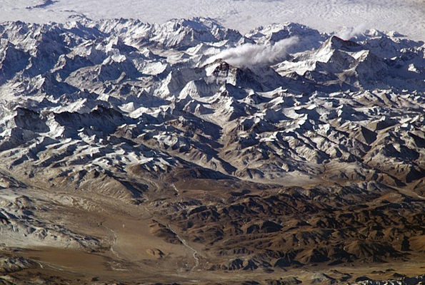 Himalayas Mountains Crags Himalaya Aerial View Mou