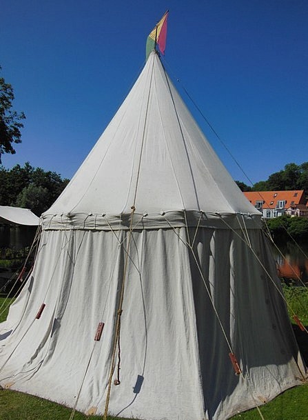 Medieval Feudal Crafts Skills Market Tent Pitched