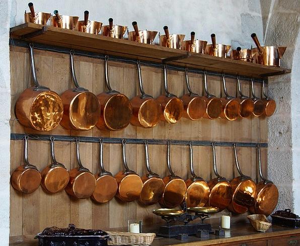 Kitchen Kitchenette Pots Vessels Copper Pans Cooki