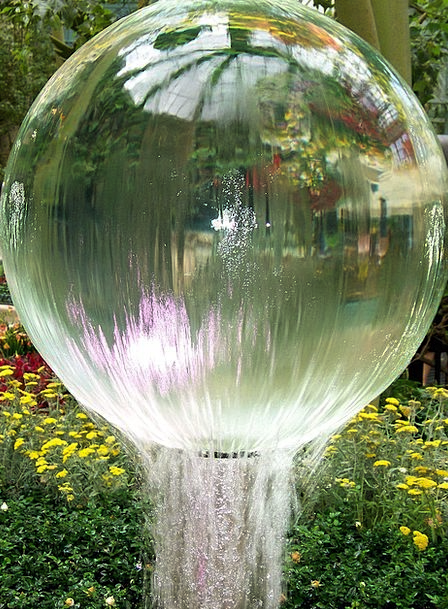 Fountain Cascade Aquatic Globe Sphere Water Splash