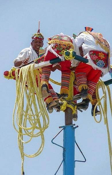 Mast Pole Cords Mexico Strings Voladores Tradition