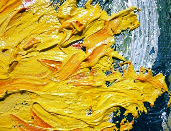 Oil Lubricant Creamy Painting Image Yellow Canvas