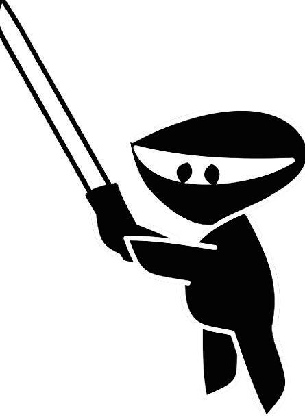 Ninja Attractive Sword Blade Cute Silhouette Outli