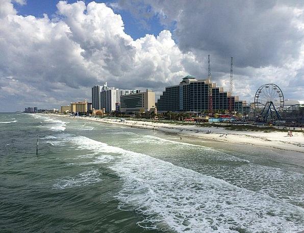 Daytona Beach Usa Florida Sea Marine Clouds Sky Va