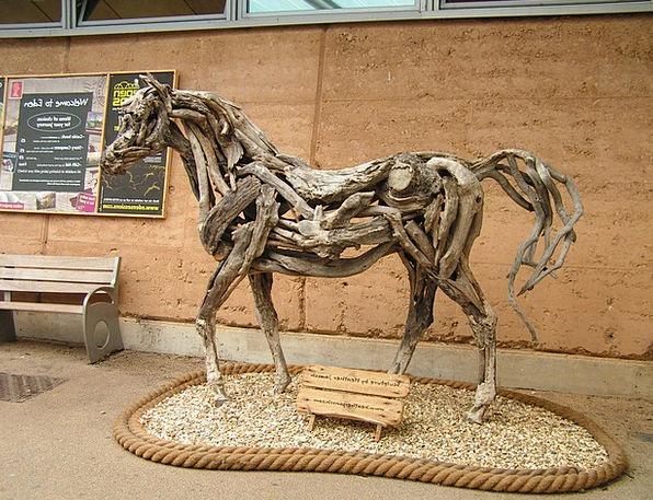Horse Mount Art Painting Drift Wood Sculpture Stat
