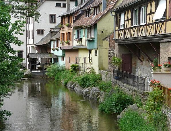 Alsace Buildings Bind Architecture River Stream Tr