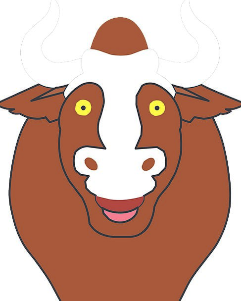 Happy Content Expression Bull Decree Face Horns Si