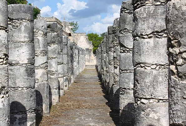 Mexico Chichen Itza Maya Kukulcan Pillars Ancient