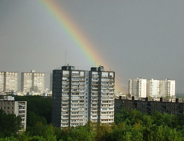 City Urban Buildings Multicolored Architecture Hig