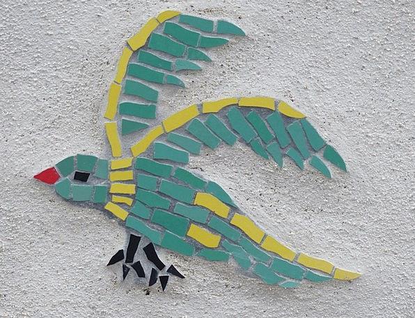Bird Fowl Medley Colorful Interesting Mosaic Blue
