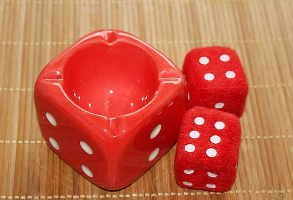 Cube Dice Red Bloodshot Ashtray