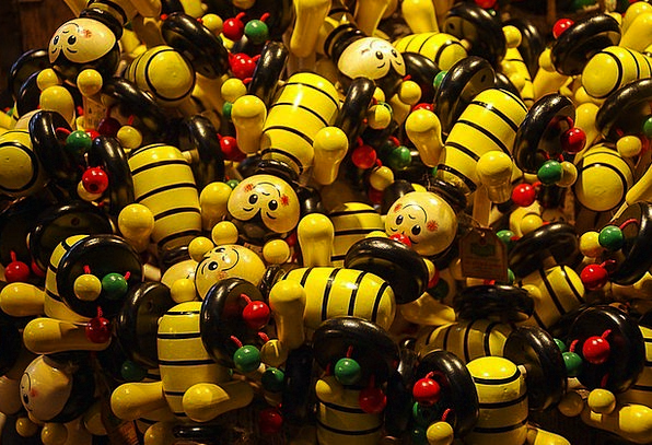 Wooden Figures Funny Humorous Bees Toys Dolls Colo