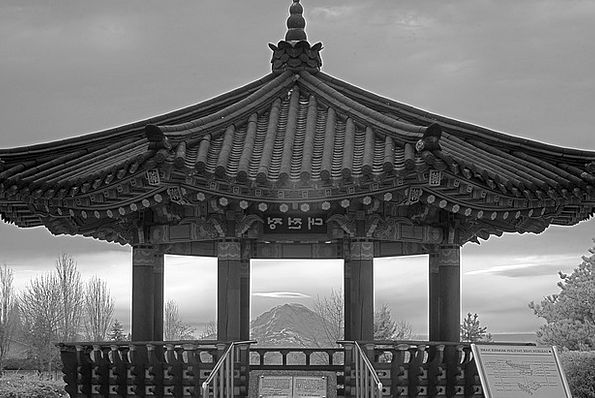 Pavilion Rotunda Seattle Mount Rainier Monochrome
