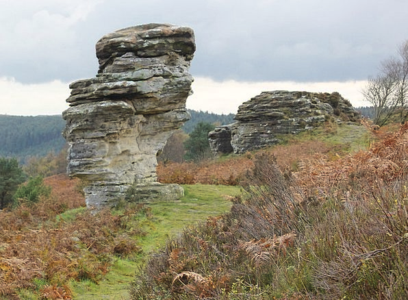 Rocks Pillars Landscapes Heath Nature North Yorksh