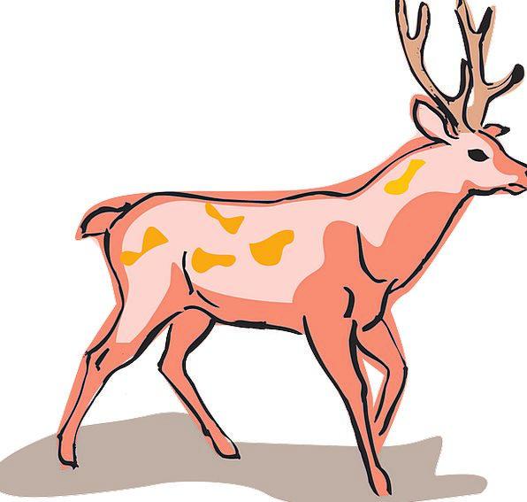 Red Bloodshot Style Chic Deer Wild Rough Animal Un