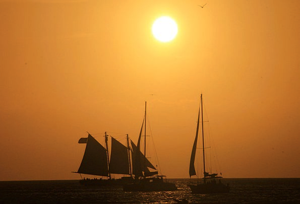 Ships Vessels Vacation Travel Sunset Sundown Sun V