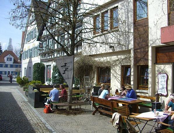 Street Cafe Be seated Truss Bind Sit Biberach Gast