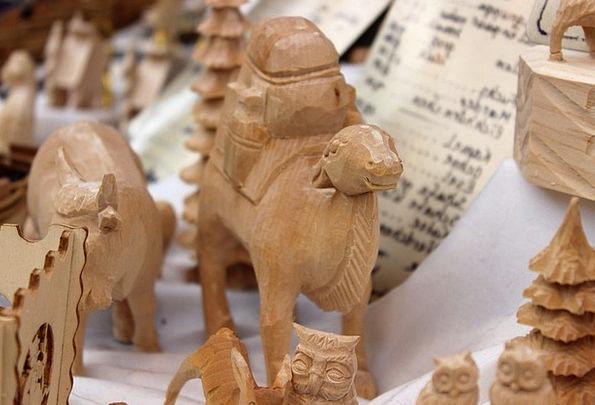 Santon Beige Carving Model Camel Christmas Wood Ti