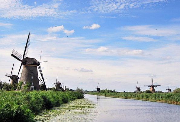 The Windmills River Stream Kinderdijk Netherlands