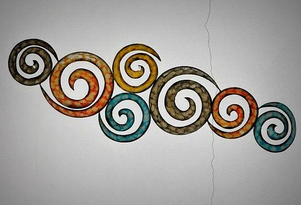 Tribal Ethnic Objet d'art Circles Rings Work Of Ar