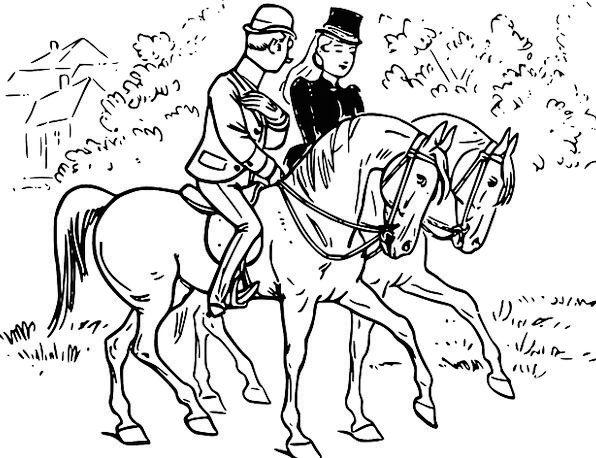 Horse Mount Proviso Couple Twosome Rider Meeting C