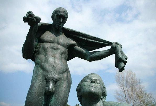 Bronze Statue Gentleman Naked Bare Man Statue Figu