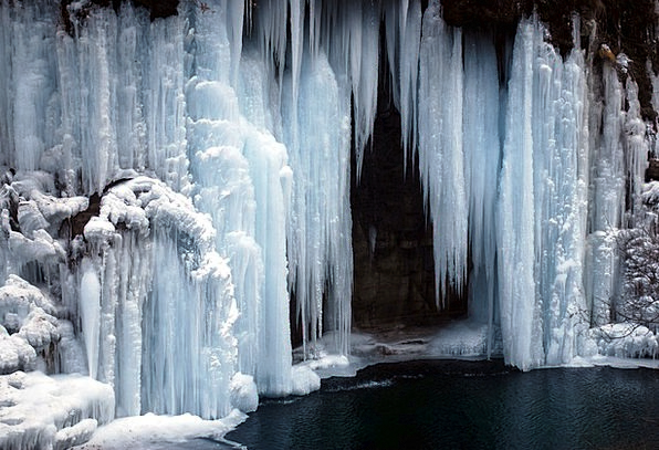 Ice Frost Landscapes Chilled Nature Waterfall Casc