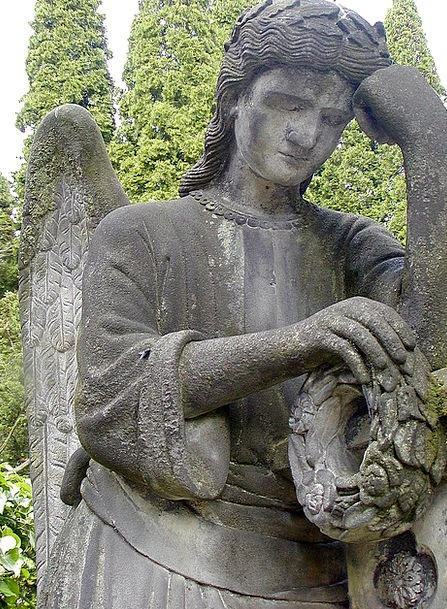 Statue Figurine Seraph Sadness Blues Angel Cemeter