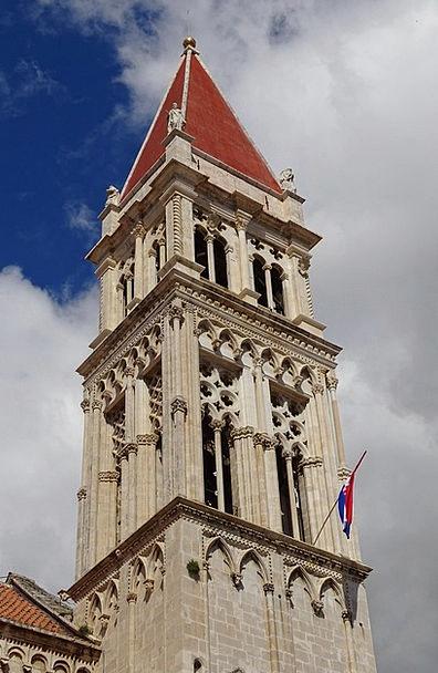 Spire Tip Trogir Croatia Steeple Tower Historicall
