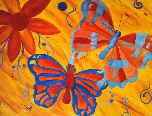 Butterfly Lubricant Painting Image Oil Fly Insect