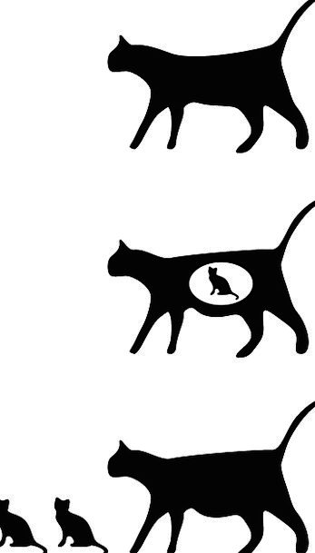 Cat Feline Catlike Kittens Walking Silhouette Outl
