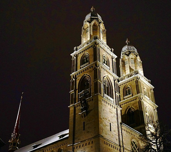 Zurich Nightly Dark Dim Night Church Ecclesiastica