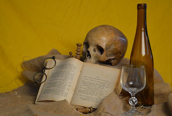 Book Volume Spectacles Skull Mind Glasses Bottle F
