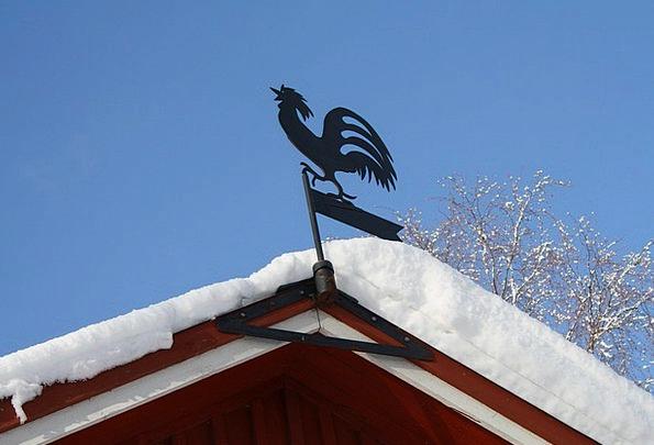 Weather Vane Raise Snow Snowflake Cock Winter Seas
