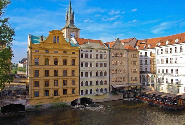 Prague Buildings Waterway Architecture Town Urban