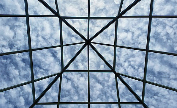 Grid Network Blue Clouds Vapors Sky Cloudscape